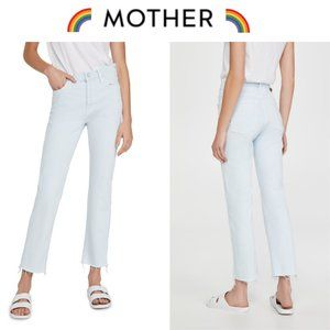 Mother the Scrapper Cuff Ankle Fray Jeans in Baby